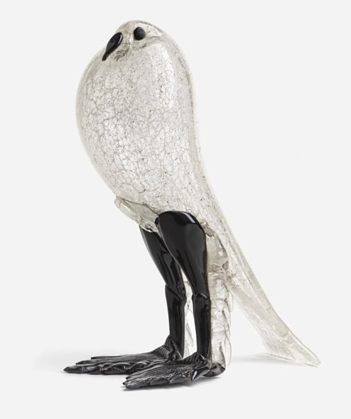 Pigeon in Primavera glass with black glass finish
