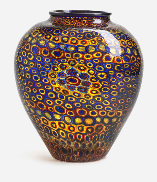 Vase consisting of polychrome concentric rings of murrine glass forming geometric patterns